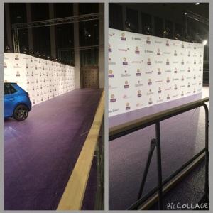 ECHO 2015 - Aufbau LILA-Teppich + Fotowand für Journalisten