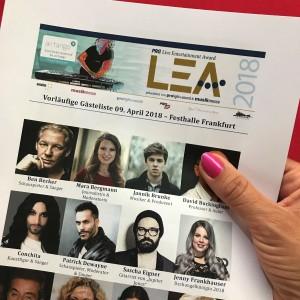 Auszug aus der Gästeliste des LEA 2018, Verena Bender, PR, PR Blog, Kommunikation, Social Media, Personal Branding, TV Promotion
